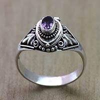 Amethyst locket ring, 'Mysterious Garden' - Fair Trade Silver and Amethyst Locket Ring from Bali