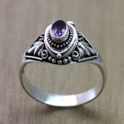 Amethyst locket ring, 'Mysterious Garden' - Fair Trade Silver and Amethyst Locket Ring from Bali