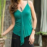 Modal top, 'Green Jasmine' - Green Sleeveless V-Neck Top in Cool Modal
