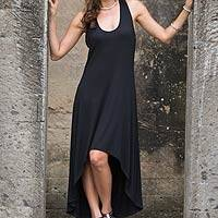 Modal dress, 'Black Frangipani' - Sleeveless Modal Dress with High-Low Hem