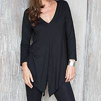 Modal tunic, 'Black Lily' - Black Long Sleeve V-neck Modal Tunic Top from Indonesia