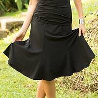 Modal skirt, 'Black Orchid' - Flared Pull On Skirt in Black Modal from Indonesia