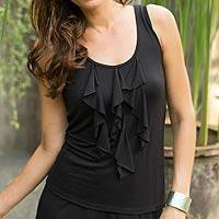 Modal top, 'Paradise in Black' - Women's Black Modal Sleeveless Top with Ruffles