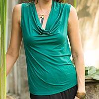 Modal top, 'Aster in Green' - Green Sleeveless Modal Top with Cowl Neck for Women