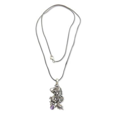 Men's amethyst necklace, 'Dragon's Ball' - Men's Fair Trade Sterling Silver and Amethyst Necklace