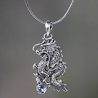 Men's blue topaz necklace, 'Dragon's Ball' - Men's Jewelry Sterling Silver and Blue Topaz Necklace