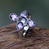 Amethyst cocktail ring, 'Blossom of Thunder' - Amethyst on Sterling Silver Ring Fair Trade Balinese Jewelry