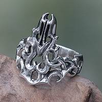 Men's sterling silver ring, 'Tongues of Fire' - Modern Abstract Sterling Silver Men's Ring Handmade in Bali