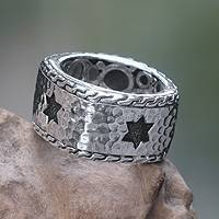 Men's sterling silver band ring, 'Star of David'