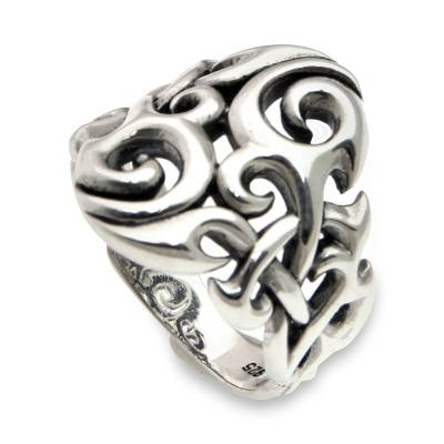 Men's sterling silver ring, 'Labyrinth' - Sterling Silver Men's Ring Handmade in Bali