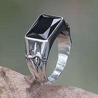 Men's onyx ring, 'Midnight Bamboo'