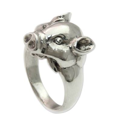 Men's sterling silver ring, 'Tusked Pig' - Artisan Handcrafted Men's Sterling Silver Pig Ring