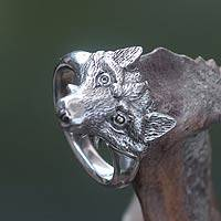 Men's sterling silver ring, 'Fierce Fox'
