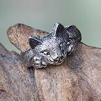 Men's sterling silver ring, 'Feisty Ocelot'