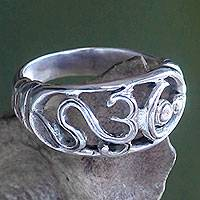 Sterling silver band ring, 'Sukawati Om Kara' - Handcrafted Sterling Silver Women's Prayer Ring