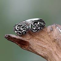 Sterling silver wrap ring, 'Jasmine Vine'