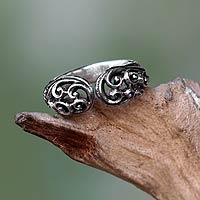Sterling silver wrap ring, 'Jasmine Vine' - Balinese Sterling Silver Handcrafted Lacy Wrap Ring