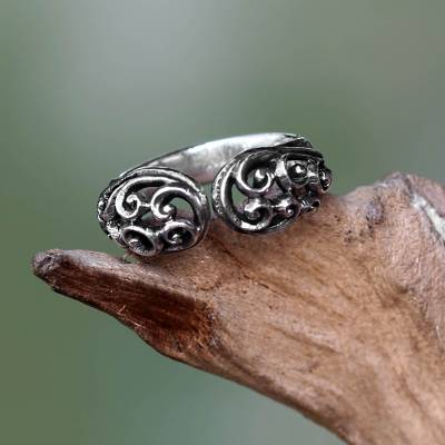 Sterling silver wrap ring, 'Jasmine Vine' - Balinese Sterling Silver Handcrafted Lacy Wrap Ring