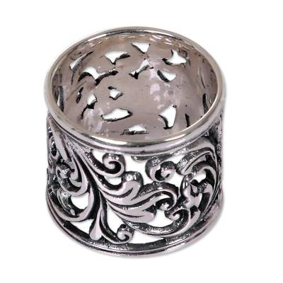 Sterling silver band ring, 'Tropical Rain Forest' - Balinese Women's Sterling Silver Handcrafted Wide Band Ring
