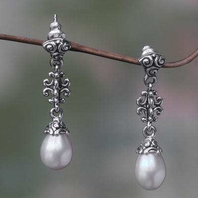 Cultured pearl dangle earrings, 'Sacred Dance' - Unique Cultured Pearl and Silver Dangle Earrings