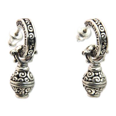 Sterling silver dangle earrings, 'Petit Monde' - Artisan Crafted Sterling Silver Dangle Earrings