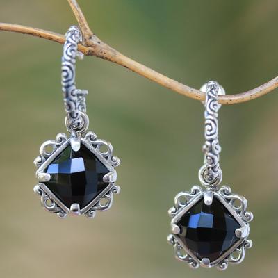 Onyx dangle earrings, 'Sweet Enchantment' - Elegant Black Onyx and Silver Dangle Earrings from Bali