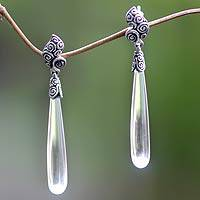 Quartz dangle earrings, 'Twisted Leaf'