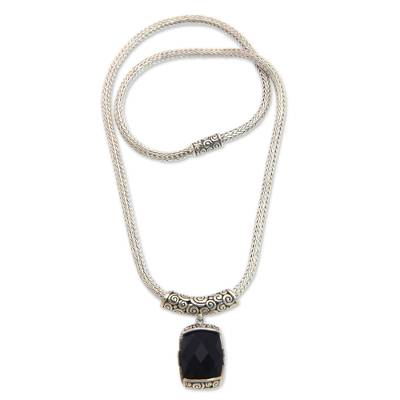 Onyx pendant necklace, 'Altar' - Fair Trade Pendant Necklace with Onyx and 925 Silver