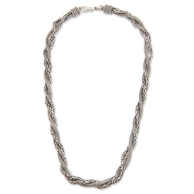 Sterling silver torsade necklace, 'Borobudur Dragon' - Fair Trade Borobudur Style Sterling Silver Torsade Necklace