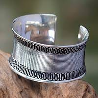 Sterling silver cuff bracelet, 'Sukawati Lace' - Women's Sterling Silver Wide Cuff Bracelet from Bali
