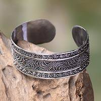 Sterling silver cuff bracelet, 'Dancing Waves'