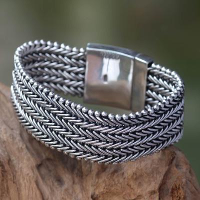Men's wristband bracelet, 'Armor' - Sterling Silver Chainmail Bracelet for Men from Indonesia