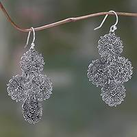 Sterling silver flower earrings, 'Filigree Bouquet' - Sterling Silver Handmade Filigree Floral Earrings from Bali