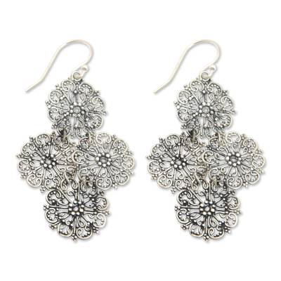Sterling Silver Handmade Filigree Floral Earrings from Bali