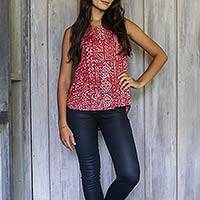 Sleeveless top, 'Java Crimson' - Women's Crimson Print Sleeveless Rayon Top from Bali