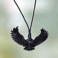 Men's horn pendant necklace, 'Black Garuda' - Men's Carved Black Water Buffalo Horn Pendant Necklace