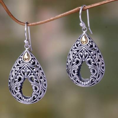 Gold accent dangle earrings, 'Balinese Lace' - Handcrafted Balinese Silver Dangle Earrings with 18k Gold