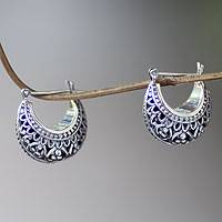 Sterling silver hoop earrings, 'Denpasar Crescent' - Artisan Crafted Sterling Silver Crescent Hoop Earrings