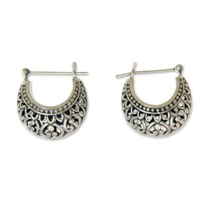 Sterling silver hoop earrings, 'Denpasar Crescent' - Artisan Crafted Sterling Silver Crescent Hoop Earrings