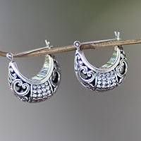 Sterling silver hoop earrings, 'Tabanan Crescent' - Handmade Crescent-Shaped Hoop Earrings in Sterling Silver