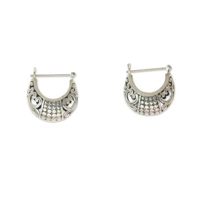 Sterling silver hoop earrings, 'Tabanan Crescent' - Handmade Crescent-Shaped Hoop Earrings in Sterling Silver