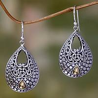 Gold accented dangle earrings, 'Dandelion Dew' - Sterling Silver and 18k Gold Accent Dangle Earrings