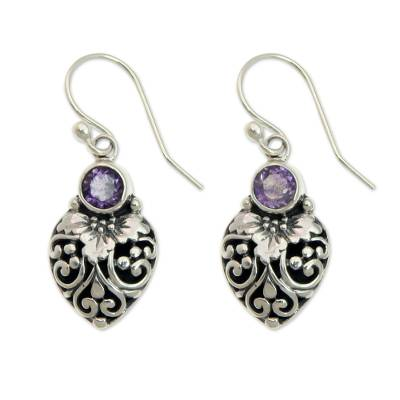 Amethyst dangle earrings, 'Bali Strawberry in Purple' - Sterling Silver and Amethyst Gemstone Earrings from Bali