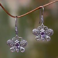Amethyst dangle earrings, 'Denpasar Monarch' - Sterling Silver Butterfly Dangle Earrings with Amethysts
