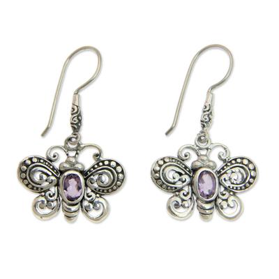 Sterling Silver Butterfly Dangle Earrings with Amethysts