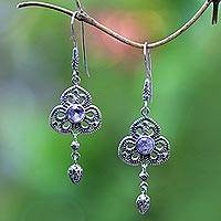 Amethyst dangle earrings, 'Three Petals' - Fair Trade Silver Flower Earrings with Genuine Amethyst