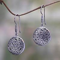 Sterling silver dangle earrings, 'Graceful Garden' - Balinese Style Floral Dangle Earrings in Sterling Silver