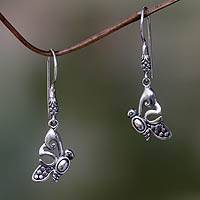 Sterling silver dangle earrings, 'Little Butterfly' - Handcrafted Butterfly Dangle Earrings from Balinese Artisan