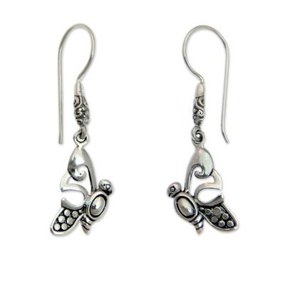 Handcrafted Butterfly Dangle Earrings from Balinese Artisan