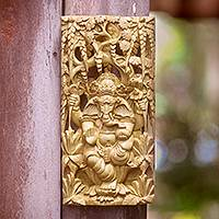 Wood relief panel, 'Lord Ganesha' - Natural Color Wood Lord Ganesha Relief Panel from Bali